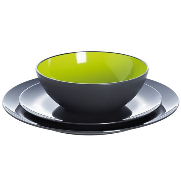gimex melamine dinner set lime and grey 12 quest